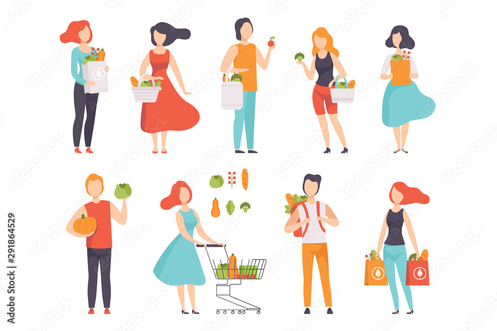 Fototapeta People with bags with healthy food, men and women doing shopping at the grocery shop vector Illustration on a white background