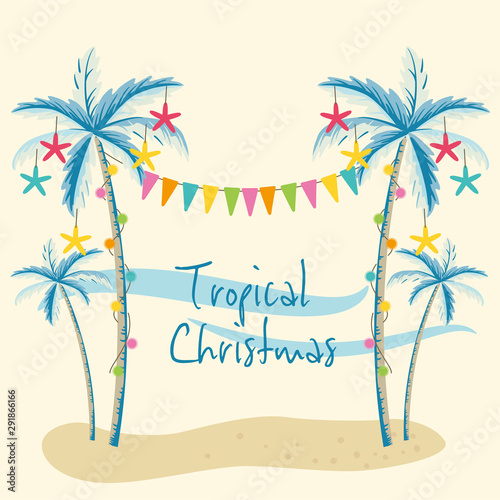 Vector illustration of tropical Christmas with palm trees Wallpaper Mural