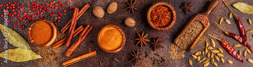 Spices ingredients for cooking. Spices concept. Wallpaper Mural