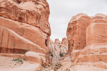 Rose Red Rocks In The Ancient City Of Petra In Jordan