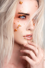 Beautiful Blonde Woman With Creative Make Up Art