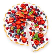Tasty Berry Pie On White Background