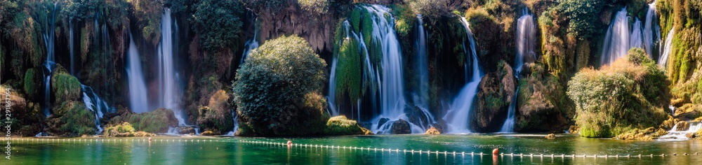 Fototapeta Panorama of Kravica waterfalls  . Bosnia and Herzegovina