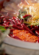 Traditional Chinese Sichuan Spicy Hot Pot, Closeup Boiling Soup