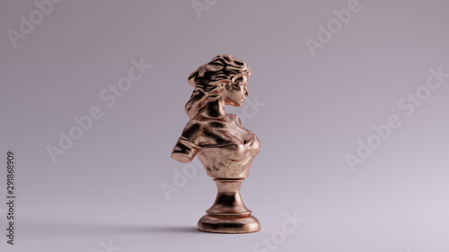 Bronze Lady Bust Sculpture Right View 3d illustration 3d render