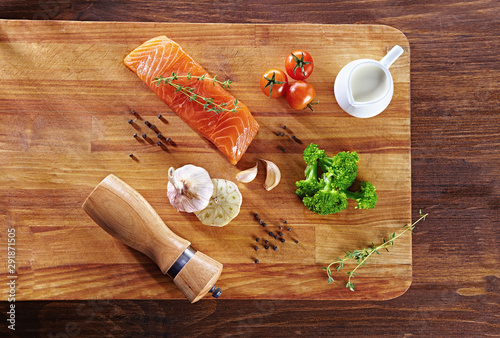 Set of Healthy anticancer food on wooden table Canvas Print