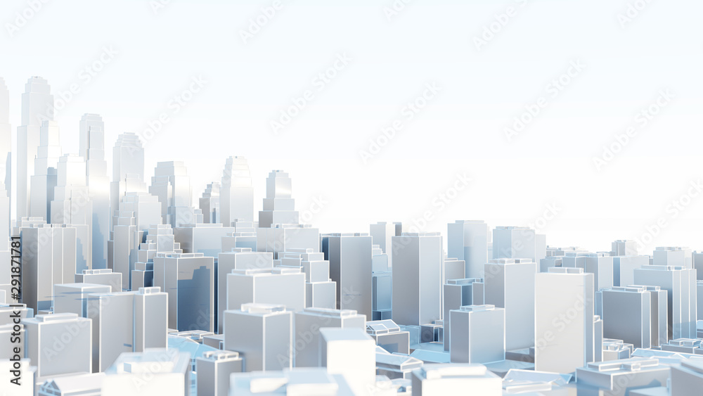 Fototapety, obrazy: 3d abstract modern city in sunny day