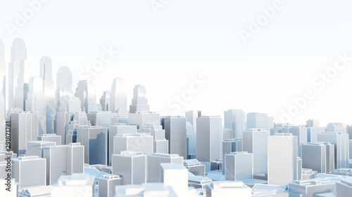 3d abstract modern city in sunny day - 291871781