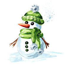 Cheerful Snowman In Green Cap, Scarf And Mittens. Watercolor Hand Drawn Illustration Isolated On White Background