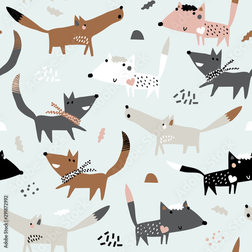 obraz lub plakat Baby seamless pattern with funny dogs. Perfect for kids apparel, fabric, textile, nursery decoration, wrapping paper. Childish vector background. Autumn.