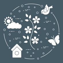 Sun, Cloud, Bird, Flower, Butterfly, Birdhouse.