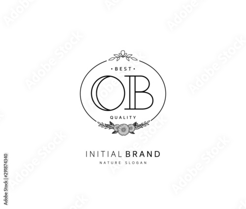 Fotografía  O B OB Beauty vector initial logo, handwriting logo of initial signature, wedding, fashion, jewerly, boutique, floral and botanical with creative template for any company or business