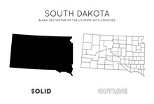 South Dakota Map. Blank Vector Map Of The Us State With Counties. Borders Of South Dakota For Your Infographic. Vector Illustration.