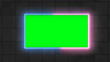 Leinwanddruck Bild - Green screen, neon, led light border in front of wall. Blank, Empty screen for advertisement videos.
