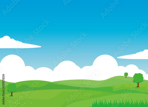 Nature landscape vector illustration with clouds, green field and tree.