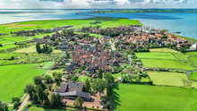 Aerial Drone View Of Marken Island, Traditional Fisherman Village From Above, Typical Dutch Landscape, North Holland, Netherlands