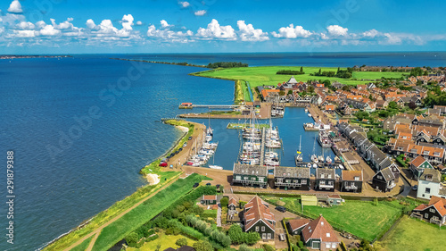 Foto auf Gartenposter Blau Aerial drone view of Marken island, traditional fisherman village from above, typical Dutch landscape, North Holland, Netherlands
