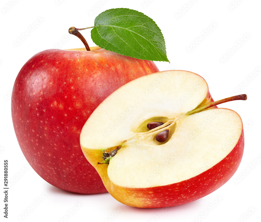 Fototapety, obrazy: Red apples isolated on white background. Ripe fresh apples Clipping Path. Apple with leaf