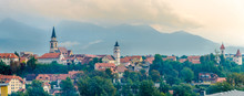 Panoramic View At The Kranj Town In Slovenia