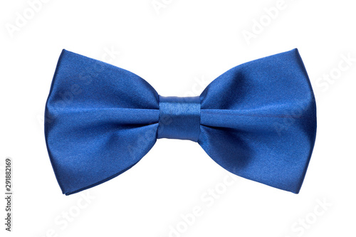 Canvastavla Blue bow tie isolated on white background