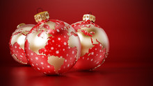 Christmas Baubles With Earth Map On Red Surface. 3D Rendering