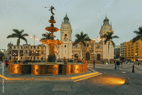 Panoramic view of Lima main square and cathedral church Canvas Print