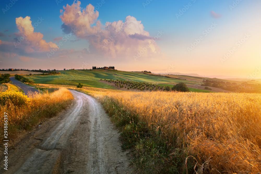 Fototapeta Italy autumn  countryside landscape, dirty road and farmland over sunset sky
