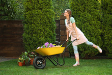 Happy Young Woman With Wheelbarrow Working In Garden