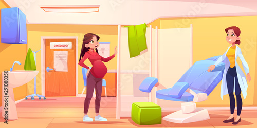 Obraz na plátně  Pregnant woman in gynecology office