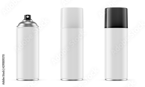 White spray paint metal cans isolated on white Wallpaper Mural