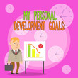 canvas print picture - Writing note showing My Personal Development Goals. Business concept for Desires Wishes Career Business planning Businessman with Brief Case Standing Whiteboard Bar Chart
