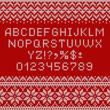 Knitting Font. Alphabet, Numbe...