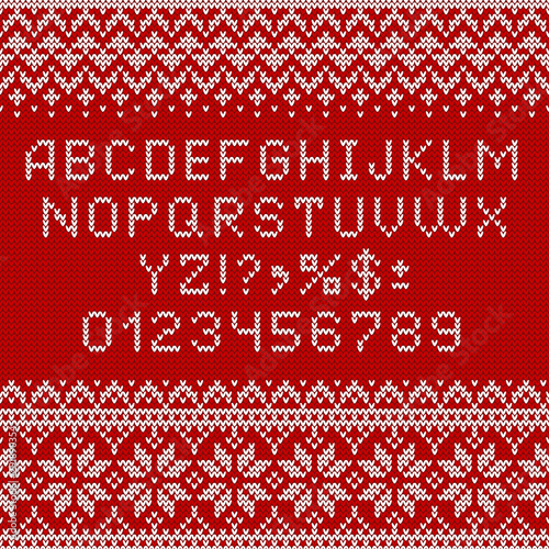 Knitting font. Alphabet, numbers and norwegian ornaments.