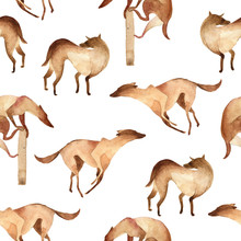 Watercolor Illustration. Seamless Pattern Of Simple Brown Dog Like Greyhound On White Background