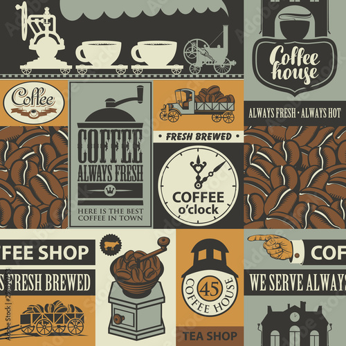 Vector seamless pattern on coffee and coffee house theme with coffee beans, inscriptions and illustrations in retro style Tapéta, Fotótapéta