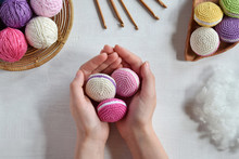 Making Crochet Amigurumi French Macarons. Toy For Babies Or Trinket.  Threads, Needles, Hook, Cotton Yarn. Handmade Gift. Income From Hobby. DIY Crafts Concept.