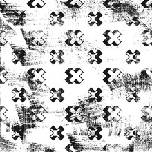 Grunge Abstract Pattern With Cross Screws Elements. Square Black And White Backdrop.