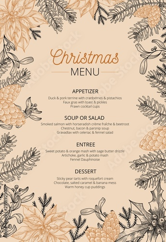 Food restaurant cuisine menu template vector illustration. Price set for christmas dishes appetizer, soup, salad, entree, dessert. Xmas new year eve theme and happy winter holidays flat style concept