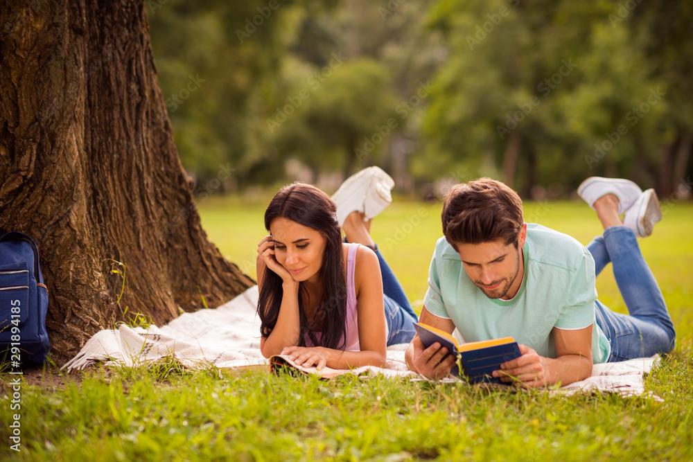 Fototapety, obrazy: Her she his he nice attractive lovely smart clever focused concentrated best friends spending weekend free spare time on fresh open air lying under tree on veil cover outside