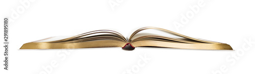 opened book with golden edges isolated on white background