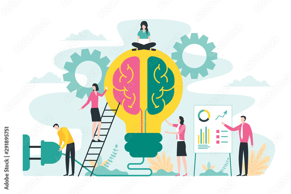 Fototapeta Brainstorming creative idea, business meeting and teamwork concept with big light bulb and brain illustration