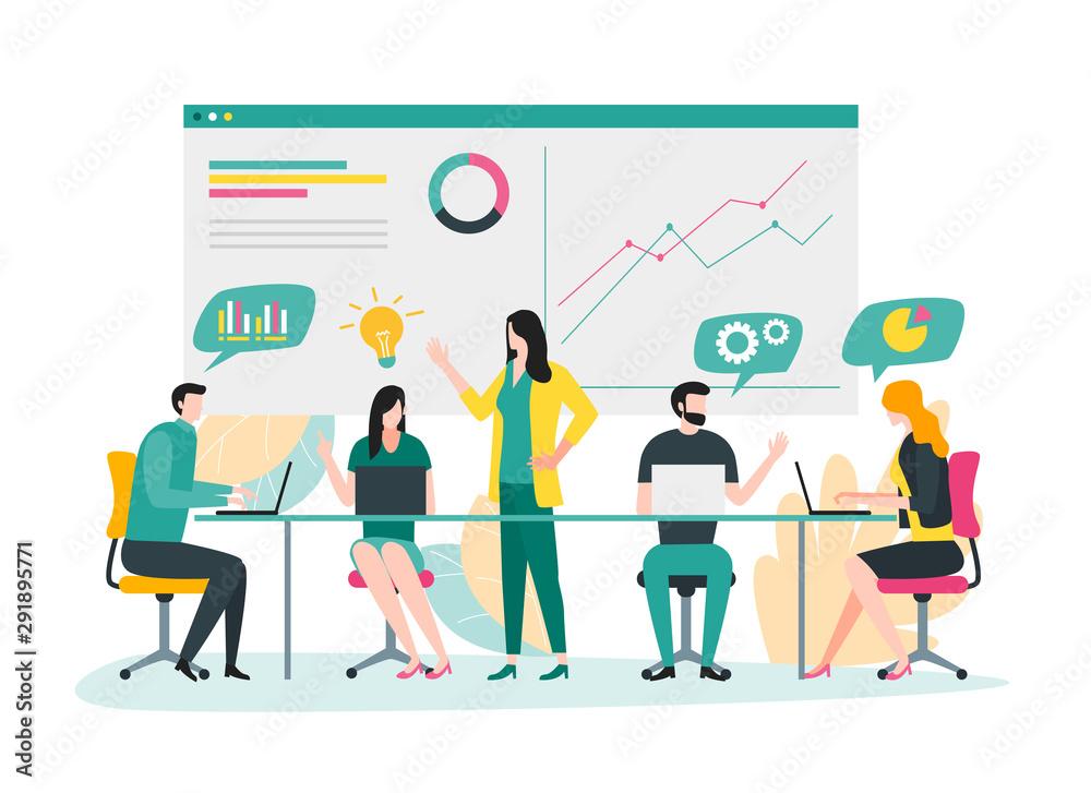 Fototapeta Illustration of business team meeting, business plan and brainstorming concept