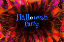 Halloween Party Invitation On Purple Low Poly BG