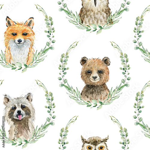 Animals watercolor illustration Wall mural