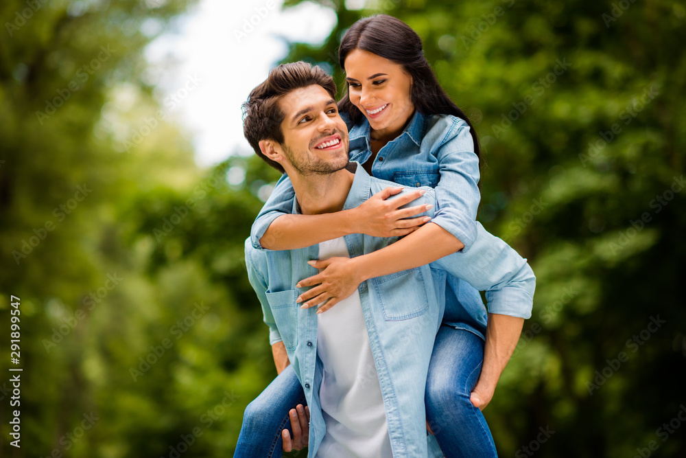 Fototapety, obrazy: Photo of charming pair walking summer green park enjoy long waited meeting wear denim outfit