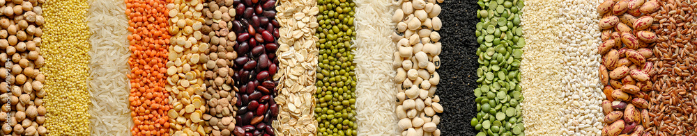 Fototapety, obrazy: Cereals and legumes food background