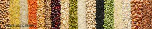 Fototapeta Cereals and legumes food background obraz