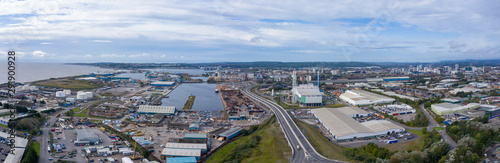 Poster Algérie Aerial view of the industrial side of the Cardiff bay / docks, Wales UK