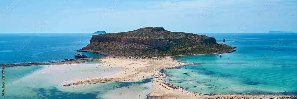 Fototapeta Balos lagoon and Gramvousa in Kissamos Crete, Greece in sunny day.