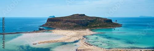 Balos lagoon and Gramvousa in Kissamos Crete, Greece in sunny day Canvas Print